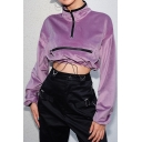 Purple High Neck Long Sleeve Plain Zip Patched Drawstring Velvet Cropped Sweatshirt
