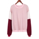 Colorblock Long Sleeve Round Neck Pink Fleece Casual Pullover Sweatshirt