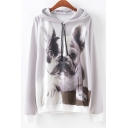 Lonely Dog Printed Long Sleeve Gray Loose Drawstring Hoodie