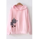Cartoon Cat Printed Embroidered Drawstring Long Sleeve Hoodie