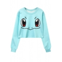 Cartoon Eyes Printed Round Neck Long Sleeve Cropped Sweatshirt