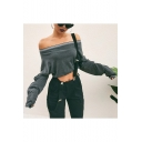 Womens Sexy Off the Shoulder Long Sleeve Simple Plain Cropped Grey Sweatshirt