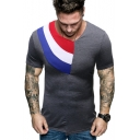 Mens Summer Unique Stylish Colorblock Patched Short Sleeve Slim Fit Cotton T-Shirt