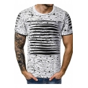 Guys New Trendy Ink Printed Destroyed Ripped Detail Short Sleeve Round Neck Sport Tee