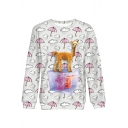 Funny Allover Umbrella Fluffy Horse Printed Crewneck Long Sleeve White Casual Sweatshirt