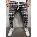 Men's New Fashion Plaid Printed Tape Side Drawstring Waist Fitness Training Pencil Pants