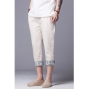 Men's Summer Basic Drawstring Waist Chic Floral Patched Cuff Slim Fit Cotton Cropped Tapered Pants