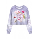Fashion Rainbow Sky Unicorn Printed Round Neck Long Sleeve Cropped Purple Sweatshirt