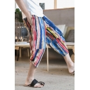 Guys Hip Hop Style Striped Leaf Printed Drawstring Waist Linen Cropped Bloomers Pants