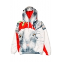 Grey Cute Cartoon Cat Printed Long Sleeve Unisex Relaxed Fit Hoodie