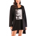 Figure Boy Printed High Low Hem Casual Loose Long Sleeve Longline Hoodie