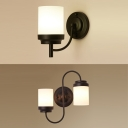 1/2 Lights Cylinder Shade Wall Lamp Traditional Metal Wall Light in Black for Hallway Stair