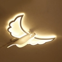 White Hawk LED Ceiling Mount Light Creative Acrylic White Ceiling Lamp in Warm for Child Bedroom