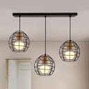 Globe Cage Hallway Pendant Light Metal 3 Lights Industrial Ceiling Lamp with Linear/Round Canopy in Black