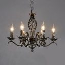 6 Lights Fake Candle Chandelier Industrial Metal Ceiling Lamp in Aged Brass for Restaurant