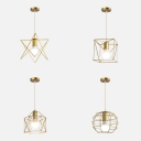 Industrial Gold Pendant Light Metal 1 Light Globe/Hexagon/Square/Star Hanging Lamp for Display Window
