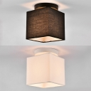 Modern Style Square Flush Mount Light Fabric 1 Light Black/White Ceiling Light for Study Room
