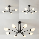 Frosted Glass Cone Ceiling Light 4/6/8 Lights Contemporary Flush Light in White for Dining Room