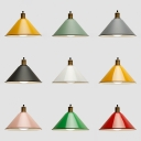 Nordic Style Conical Hanging Light Metal 1 Light Macaron Colored Pendant Lamp for Restaurant