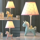 Blue/Pink/Yellow Unicorn Reading Lamp 1 Light Lovely Resin Desk Light for Study Room