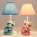 Cartoon Animal LED Desk Light 1 Light Resin Reading Light with Pen Holder in Blue/Pink for Kid Bedroom