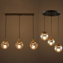 Linear/Round Canopy Island Light Orb 3 Lights Simple Style Clear Glass Suspension Light for Kitchen