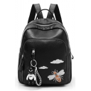 Big Capacity Cartoon Cloud Bee Print Waterproof Black PU Leather 30*25*12 CM