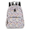 Cute Cartoon Unicorn Rainbow Printed white Waterproof Nylon School Bag Backpack 33*12*40 CM
