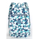Summer Fashion Floral Printed Blue Waterproof Nylon Lightweight Travel Bag School Backpack 28*17*35 CM