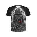 Cool Red Eyes Skull Printed Basic Round Neck Short Sleeve Black T-Shirt