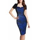 Womens Chic Blue Floral Printed V-Neck Short Sleeve Midi Pencil Dress for Office Lady