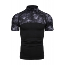 Stylish Camo Patched Zipper Stand Collar Short Sleeve Slim Polo Shirt for Men