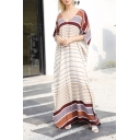 Summer Womens Hot Popular V-Neck Striped Pattern Maxi Casual Loose Kaftan Dress
