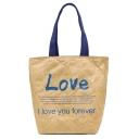 Stylish Letter Printed Large Utility DuPont Paper Bag Tote Shoulder Bag 28*15*33 CM