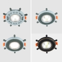 Rudder LED Flush Mount Light 1 Light Creative Metal Ceiling Light in Warm/White for Kindergarten