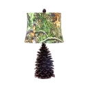 Rustic Style Pine Cone Desk Light 1 Light Fabric LED Night Light in Green for Adult Kid Bedroom