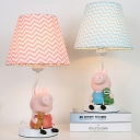 Child Bedroom Zig Zag Desk Light with Piggy Fabric 1 Light Animal Blue/Pink Reading Light