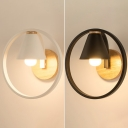 Conical Shade Hallway Wall Lamp Metal 1 Light Nordic Style Sconce Light in Black/White