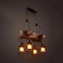 Shop Restaurant Kerosene Hanging Light Wood 4 Lights Antique Style Brown Chandelier