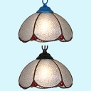 Dome Shade Bedroom Hanging Light Dimple Glass 1 Light Tiffany Contemporary Ceiling Pendant in Black/Blue