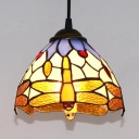 Dragonfly Dome Bedroom Pendant Light Stained Glass 1 Light Tiffany Style Vintage Ceiling Light