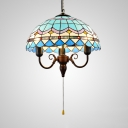 3 Lights Candle Hanging Light Mediterranean Stained Glass Ceiling Light with Pull Chain for Restaurant
