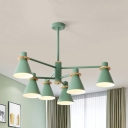 Study Room Cone Chandelier Metal 4/6 Lights Modern Gray/Green/White Pendant Light
