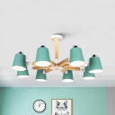 3/6/8 Lights Bucket Chandelier Nordic Style Metal Suspension Light in Gray/Green/Pink for Kindergarten
