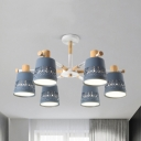 Metal Tapered Shade Chandelier Nursing Room 6 Lights Nordic Style Candy Colored Pendant Light