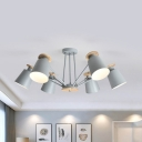 Nordic Style Bucket Hanging Lamp Metal 3/6/8 Lights Gray/Green/White Rotatable Chandelier for Bedroom
