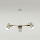 White Bell Shade Suspension Light Rotatable 3/6 Lights Nordic Style Metal Chandelier for Foyer