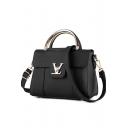 Popular Solid Color Metal Buckle Lock Commuter Satchel Tote Handbag 22*11*18 CM