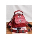 Hot Fashion Stone Texture Plaid Wide Strap Convertible School Satchel Backpack 20*13*19 CM