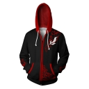 Trendy Comic Cosplay Costume Long Sleeve Zip Up Loose Sport Black and Red Hoodie